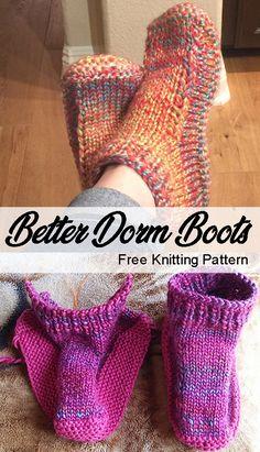 Better Dorm Boots – Free Knitting Pattern – Knitting For Beginners Knitting Blogs, Knitting For Beginners, Loom Knitting, Knitting Socks, Knitting Patterns Free, Knit Patterns, Free Knitting, Knitting Projects, Knit Socks