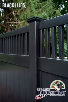 """Black PVC vinyl fence. Simple. Powerful. Elegant. It's no wonder that """"black vinyl fence"""" is becoming one of the most searched new fence styles on the internet. #illusionsfence"""