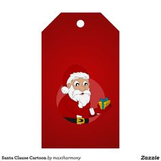 Santa Clause Cartoon Pack Of Gift Tags