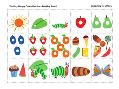 colourful, fun, printable resource for use with The Very Hungry Caterpillar book study or Spring unit of work.A colourful, fun, printable resource for use with The Very Hungry Caterpillar book study or Spring unit of work. Very Hungry Caterpillar Printables, Hungry Caterpillar Food, Hungry Caterpillar Craft, Caterpillar Book, Retelling Activities, Kindergarten Activities, Preschool Activities, Chenille Affamée, Story Retell