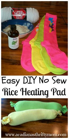Easy DIY No Sew Rice Heating Pad Gather your supplies: Knee socks (any brand or color) 4 cups rice 10 drops, more or less, of your favorite essential oil Funnel Yarn or twine First I added my rice ...