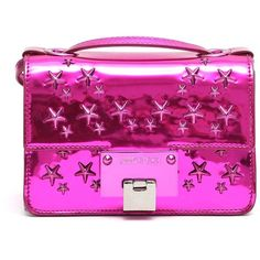 JIMMY CHOO 'Rebel Soft' Mini Stars Studded Crossbody ($705) ❤ liked on Polyvore featuring bags, handbags, shoulder bags, crossbody purses, mini shoulder bag, pink purse, mini handbags and mini crossbody