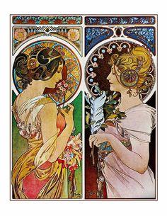 Art Nouveau Alphonse Mucha Print 2 Beautiful Woman Together Love Friends Art Nouveau Mucha, Art Nouveau Tattoo, Alphonse Mucha Art, Art Nouveau Tiles, Art Nouveau Design, Tattoo Art, Illustrator, Art Nouveau Illustration, Woman Illustration