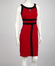 Take a look at this Red & Black Contrast Seam Sleeveless Dress by AA Studio on #zulily today!$21.99, regular 59.00