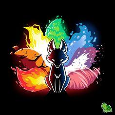 Elemental Kitsune t shirt Naruto Wallpaper, Wallpaper Naruto Shippuden, Cute Animal Drawings, Cute Drawings, Kawaii Drawings, Anime Kunst, Anime Art, Anime Wolf Zeichnung, Anime Wolf Drawing