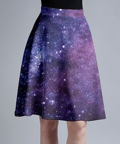 This Purple & Blue Galaxy A-Line Skirt - Women & Plus is perfect! #zulilyfinds