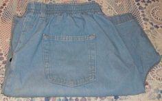 "Bobbie Brooks Size 24W Blue Denim Elastic Waist Shorts 4 Pocket with 16"" Rise"