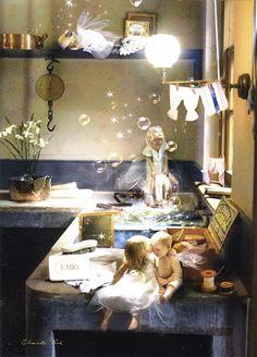 Wash Day Blues ~ Charlotte Bird. Fairy art.