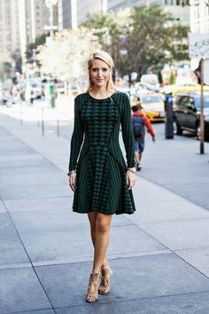 long sleeved knit dress - green houndstooth