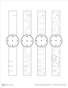 Printable Paper Watch Template for Kids - YES! we made this Printable Learning Activities for Toddle Paper Crafts For Kids, Easy Crafts For Kids, Preschool Crafts, Projects For Kids, Diy For Kids, Help Kids, Printable Crafts, Templates Printable Free, Printable Paper
