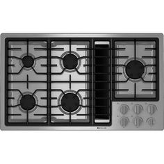 This Jenn-Air® luxury gas downdraft cooktop features five burners, including a BTU ultra-high output burner. It also offers the impressive downdraft ventilation system, which quickly and efficiently clears the air without a hood. Cook Top Stove, Gas Stove Top, Island Cooktop, Electric Cooktop, Ventilation System, Appliance Parts, Painting Cabinets, A 17, Organizer