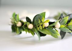 Green Leaf and Berry Hair Crown Goddess Headdress by KimArt, $55.00 #flowercrown #etsy #weddings #hair