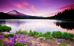 #Scenic Purple Coloured #Mountain #Lake #Landscape Desktop #Wallpaper #Background