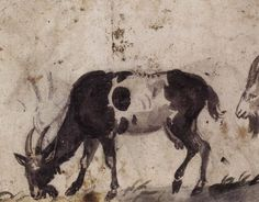 Cranach (the Elder) Study of Grazing Goats (verso)  1520s  Brush drawing with watercolour over black chalk, 135 x 167 mm  J. Paul Getty Museum, Los Angeles