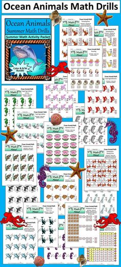 Ocean Animals Summer Math Drills Bundle: This  math activity packet contains many math drills suitable for grades 2 through 4.  Contents include (5 each): * Single, Double, Triple Digit Addition & Subtraction * Basic Addition & Subtraction Facts * Operations in Series - Addition & Subtraction * Rounding to the Nearest Ten, Hundred, & Thousand  * Estimating Sums * Basic Multiplication & Division Facts * Missing Terms Division & Multiplication * Addition & Multiplicatio