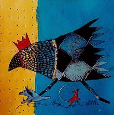 ElkeTrittel Art ink on Acrylic Art Et Illustration, Wow Art, Bird Patterns, Bird Drawings, Naive Art, Outsider Art, Bird Art, Painting Techniques, Art Lessons