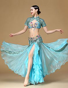 Belly Dance Outfits Performance Cotton Polyester Beading Pleated Crystals/Rhinestones Paillettes Flower(s) Sequins 3 Pieces Short Sleeve
