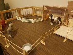 Random pasture arrangement with DIY fence for schleich and run in shed/or hay storage