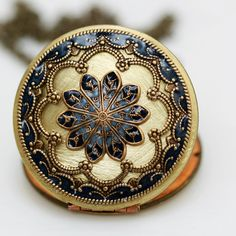 Locketblue locketfiligree locket necklaceresin by emmagemshop, $79.99