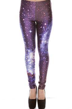 Galaxy NYLON Leggings - Purple BlackMilk Inspired on DazyLu.com