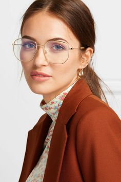Gucci – Hexagon-frame gold-tone and acetate optical glasses – Brille Make-up Wire Frame Glasses, Womens Glasses Frames, Big Glasses Frames, Vintage Glasses Frames, Eyeglasses For Women, Sunglasses Women, Cheap Eyeglasses, Gold Rimmed Glasses, Cute Glasses