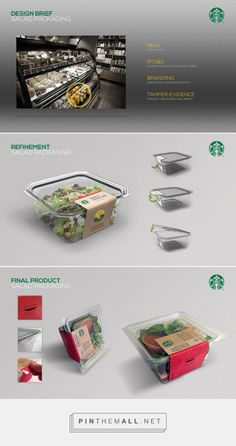 Starbucks Salad Packaging on Behance. - a grouped images picture - Pin Them All Salad Packaging, Takeaway Packaging, Vegetable Packaging, Cool Packaging, Food Packaging Design, Design Poster, Label Design, Cafeteria Menu, Salad Box