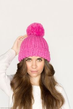 Classic Bubblegum Pompom Hat Crochet Pattern - pattern + tutorial - lovely pink color