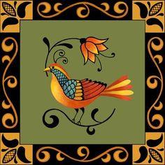 folk-art-bird-on-green