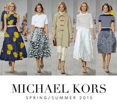 Przepiękny przykład adaptacji retro do współczesnej mody. Spódnice midi, kratka, kwiaty i przepiękna żółta budrysówka. Michael Kors Spring/Summer 2015