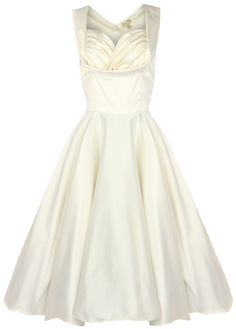 Lindy Bop 'Ophelia' Vintage 1950's Wedding Prom Swing Dress (L, Ivory)