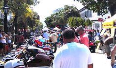 Crowds gather around bikes at Peterson's Key West Poker Run