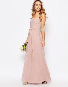 "It says it's ""pale mauve""? Image 4 ofTFNC WEDDING Bandeau Chiffon Maxi Dress"