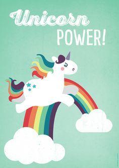 """Digitaldruck - A2 Einhorn-Poster """"Unicorn Power"""" Kin... - ein Designerstück von kaeselotti bei DaWanda"""
