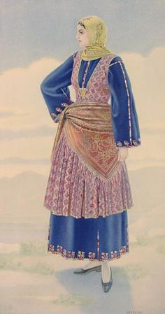 Trikeri - Art - Painting by Nicolas Sperling - Trikeri woman - Traditional costume - Travel - Trip - Greece - Greek destination - Traveller - Backpacker Greek Traditional Dress, Traditional Outfits, Gypsy Costume, Folk Costume, Ancient Greek Costumes, Greek Dress, Greek Paintings, Dress Painting, Fantasy Gowns