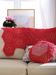 Cranberry Mousse Throw and Cushion FREE pattern
