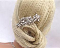 A beautiful touch of crystal-$36 #agoddessdivine #wedding #rhinestone #bridal #headpiece #crystal #hairpiece #bridesmaid #hair #comb #clip #hairpins #pearl vintage #hairclip