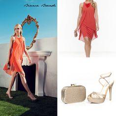 """#Abbinamenti... #Tubino in jersey con pannelli drappeggiati in chiffon. Al collo un prezioso ma delicato ricamo di pietre tonde.  Completa il #look abbinando #sandali """"open toe"""" con cinturini incrociati in #materiale #lurex oro e #clutch in materiale #glitter oro.  #BiancaBrandiShoesandBags #collection #SS2015 #moda #summer #outfit #fashion #style"""