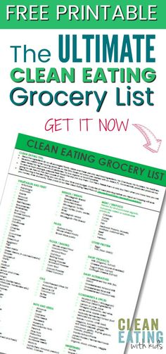 FREE PRINTABLE Clean Eating Grocery List for Beginners
