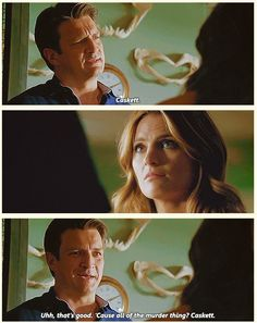 Castle: We're Rickate... No were Kateick... Wait I've got it, Caskett!  Beckett: That's good! Castle: Yeah, 'cause of the whole murder thing!