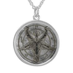 Gold and marble Baphomet Necklace, Adult Unisex, Size: Medium, Floral White Earring Cards, Black Felt, Jewelry Packaging, Jewelry Organization, Solomon, Baphomet, Sterling Silver Necklaces, Fashion Necklace, Custom Jewelry