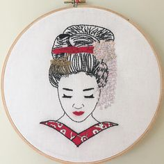 She's finished! I had a lot of fun doing this one. I had to run it under water to dissolve the stabilizer that I printed the design on and the red thread bled a little bit.  Or perhaps she just had a hard night partying and her lipstick smudged from all the smooching.  .  .  .  #handstitched #handmade #geisha #embroidery #create #therapy #handembroidery #stitch