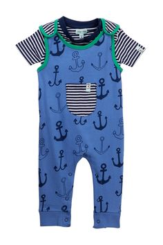 Image of Lilly + Sid Anchor Print Dungaree Set (Baby Boys)