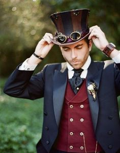 Are you a Victorian gear head by chance and looking to plan the ultimate Steampunk wedding? Regal Steam punk wedding theme and ideas. Moda Steampunk, Design Steampunk, Style Steampunk, Victorian Steampunk, Steampunk Theme, Victorian Men, Victorian Dresses, Steampunk Cosplay, Steampunk Outfits