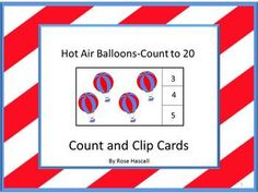 Math: Students can practice their counting skills with this Hot Air Balloons- Count to 20 count and clip math center activity. Students will count the hot air balloons and clip a clothes pin on the correct number. Print out the pages, laminate, and cut out the count and clip cards. This product makes 20 count and clip cards. You will need 20 clothespins for this activity.   Or, if you prefer, students can use dry erase markers to circle the correct number.