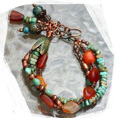 Multistrand Turquoise Agate Bracelet by rocksandpaperswans Copper Bracelet, Copper Jewelry, Turquoise Jewelry, Wire Jewelry, Jewelry Crafts, Jewelry Art, Beaded Jewelry, Jewelery, Jewelry Bracelets