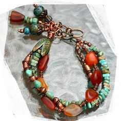 turquoise agate and copper bracelet by rocksandpaperswans on Etsy, $60.00