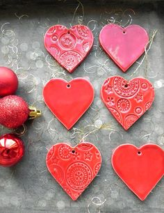 Excited to share the latest addition to my #etsy shop: Red Heart Christmas Ornaments, Red Lace Heart Ceramic, 3 Winter Home Decoration, Christmas Tree Decor, Heart Home Decor, Christmas Gifts