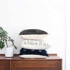 African Mudcloth pillows by @maewoven