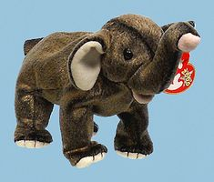 Trumpet, Ty Beanie Baby elephant, reference information and photograph. Valuable Beanie Babies, Ty Bears, Ty Babies, Baby Queen, Baby Stuffed Animals, Cute Beanies, Ty Beanie Boos, Dad Day, Plush Animals