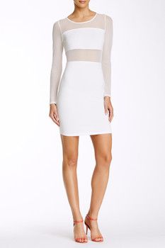Painted Threads Long Sleeve Sheer Panel Bodycon Dress